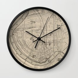Vintage Map of New Orleans Louisiana (1885) Wall Clock