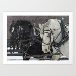 Day and Night Winter's Ride Art Print