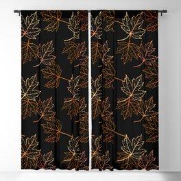 Maple Leaf (Black Glow) - Crisp Blackout Curtain