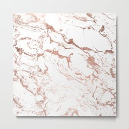 Modern chic faux rose gold white marble pattern Metal Print