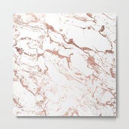 Modern chic faux rose gold white marble pattern Metal Print
