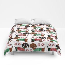Christmas sweater dachshund pattern Comforters