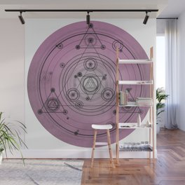 Pink mandala with alchemy symbols and distressed wiccan design Wall Mural