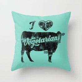 I Heart Vegetarians Throw Pillow