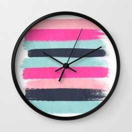 Abstract minimal painted stripes pattern basic nursery gender neutral decor gifts Wall Clock