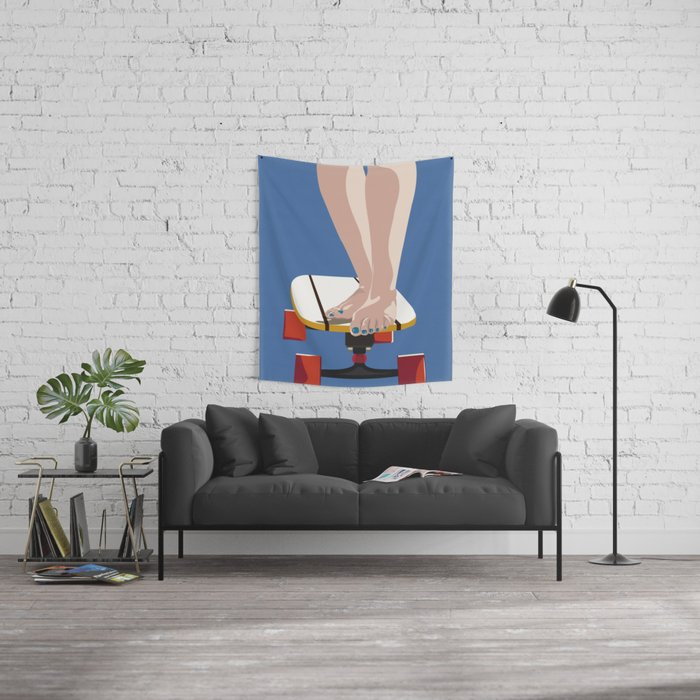 skate girl with blue nails and red wheels Wall Tapestry