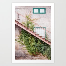 Stone House with Ivy Wall Art Print