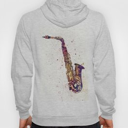 An abstract watercolor print of a Saxophone Hoody
