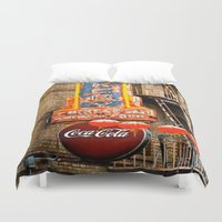 coca cola Duvet Covers featuring CHINESE COCA COLA SIGNBOARD by Voodoo Bench