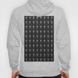 White Crosses Pattern Black Leather Photo Print Hoody