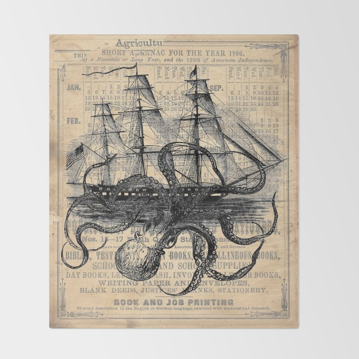 Octopus Kraken attacking Ship Antique Almanac Paper Throw Blanket by  paperrescuedesigns
