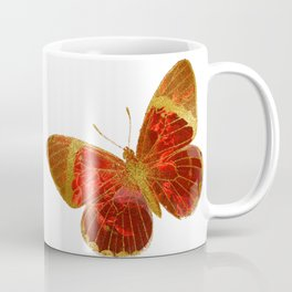 Gold Glitter Scarlet Red Butterfly Design Coffee Mug