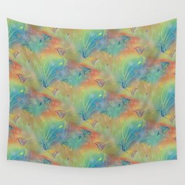Rainbow Sparkles Leaves Flowers Wall Tapestry