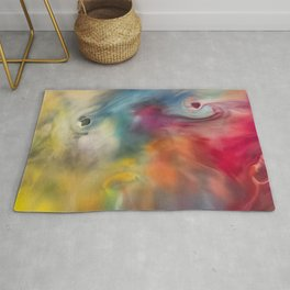Colored watercolor abstraction painting Rug