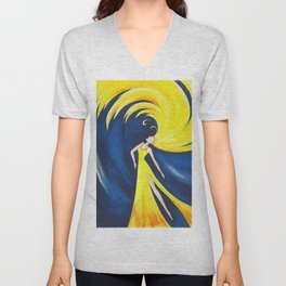 Abstract Wave Girl Unisex V-Neck