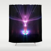fight Shower Curtains featuring Lazer Fight  by Factory23
