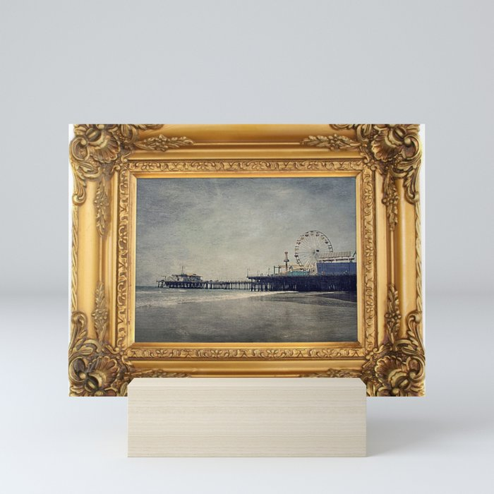 Vintage Santa Monica Pier framed Painting Mini Art Print by Christine aka stine1 on Society6