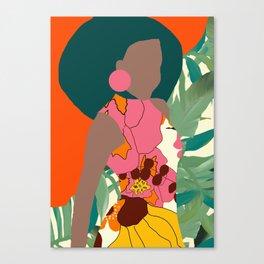Jungle Pop! Retro princess Textile Collage Canvas Print