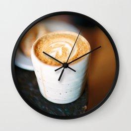 Latte Art. Coffee in ceramic cup. Film & digital photography wall art. Art Print Wall Clock