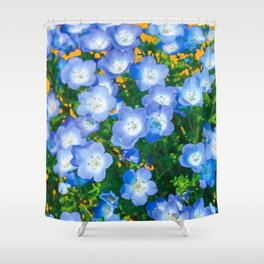 BABY BLUE EYES FLORAL GARDEN ART Shower Curtain