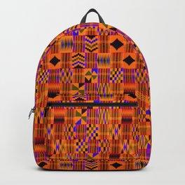 Kente Cloth // Persimmon & Red-Orange Backpack
