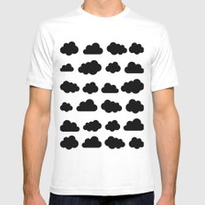 Black clouds - Black and white art MEDIUM Mens Fitted Tee White