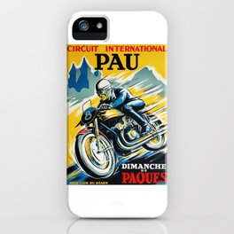 Grand Prix Pau, vintage poster, Motorcycle poster, race poster, Motorcycle poster iPhone Case