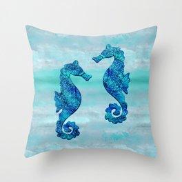 Blue Seahorse Couple Underwater Throw Pillow