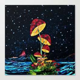Cosmic mushrooms Canvas Print