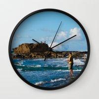 puerto rico Wall Clocks featuring Pescador en Villa Pesquera, Isabela, Puerto Rico by Silmagerie