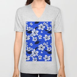 Blue Sakura Cherry Tree Flower Blooms - Aloha Hawaiian Floral Pattern Unisex V-Neck