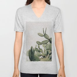 Cactus on blue sky #society6 #decor #buyart Unisex V-Neck