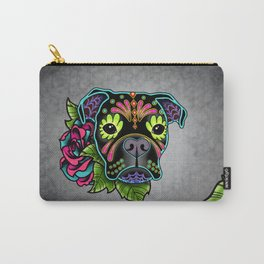 Boxer in Black - Day of the Dead Sugar Skull Dog Carry-All Pouch