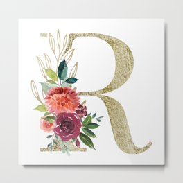 Letter R Monogram Gold and Watercolor Flowers Metal Print