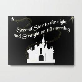 Tinkerbelle Peter Pan Second Star to the Right Metal Print
