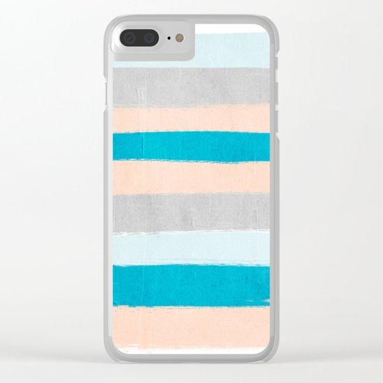 Painted stripes minimal bright summer palette boho striped decor minimalist Clear iPhone Case