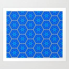 blue flower hexagon pattern Art Print