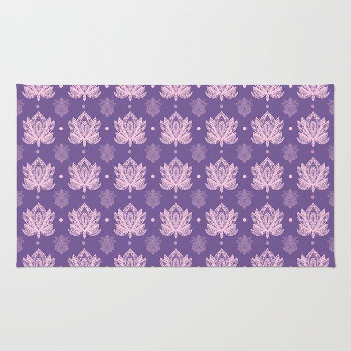 Gentle Pastel Pink  Lotus Flower Pattern Rug
