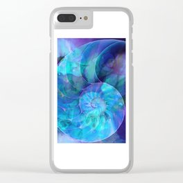 Blue Nautilus Shell  - Seashell Art By Sharon Cummings Clear iPhone Case
