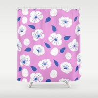 cherry blossoms Shower Curtains featuring Cherry blossoms by Anneline Sophia
