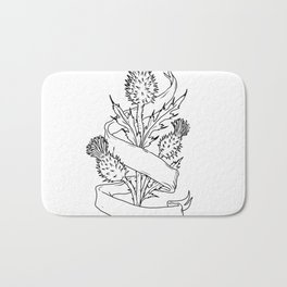 Scottish Thistle With Ribbon Drawing Black and White Bath Mat