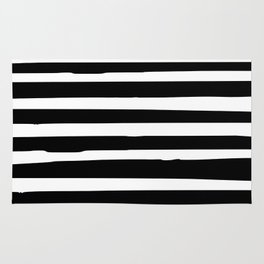 Black and White Stripes Abstract Modern Rug