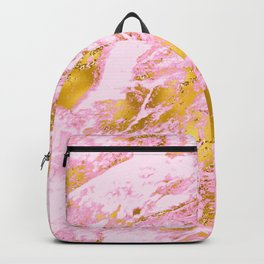 Pink and Vibrant Gold Sparkle Faux Marble Pattern Backpack