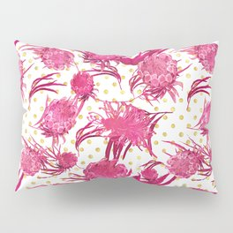 Pink and Gold Australian Native Floral Pattern - Protea, Grevillea and Eucalyptus Pillow Sham