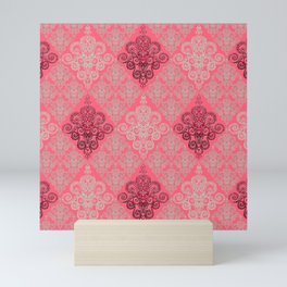 red&grey Baroque Pattern on gentle raspberry Mini Art Print