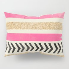 PINK AND GOLD STRIPES AND ARROWS Pillow Sham