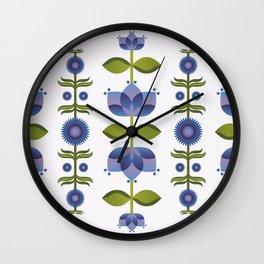 Blue Florals Wall Clock