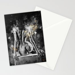 abstract watercolor nude figure painting Stationery Cards