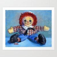 Raggedy Andy Blue Art Print