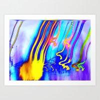 gorillaz Art Prints featuring Jellyfish by Serena Gailey